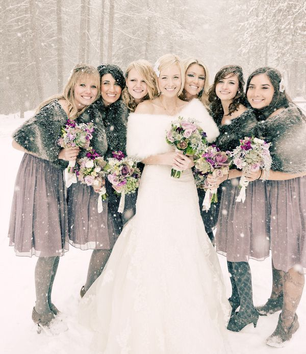 Winter wedding trends for Bridesmaid dresses for winter weddings